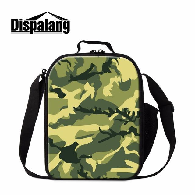 Dispalang aislados loncheras para niños patrón de camuflaje personalizado bolsa de picnic almuerzo contenedores lonchera portátil para oficina
