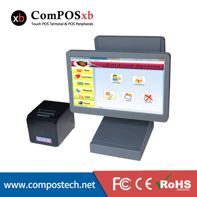 """2016 Hot Sale 15.6"""" All In One PC  Dual Touch Screen Cash POS Machine Wth  Printer"""