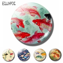 Koi Fish 30 MM Fridge Magnet Japanese Asian Art Glass Dome Magnetic Refrigerator Stickers Note Holder Home Decoration
