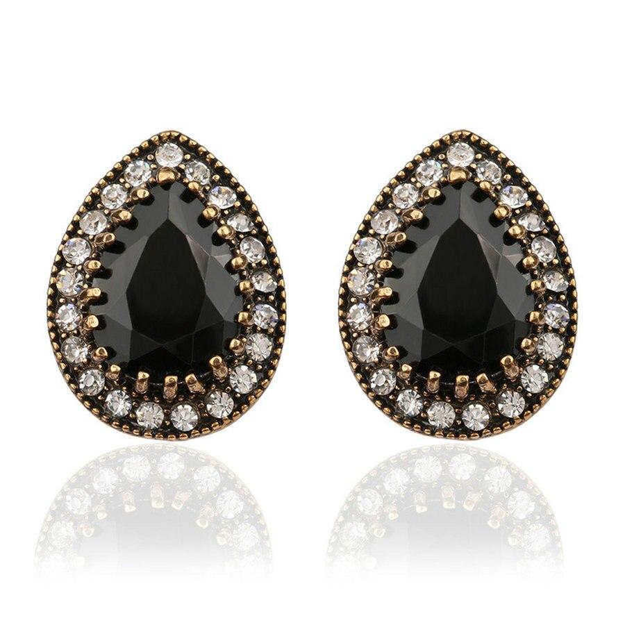 Indian Jewelry 2016 Design Fashion Earrings For Women Water Drop Black  Resin Sale Wholesale Jewellery Mixed Lots Rhinestone