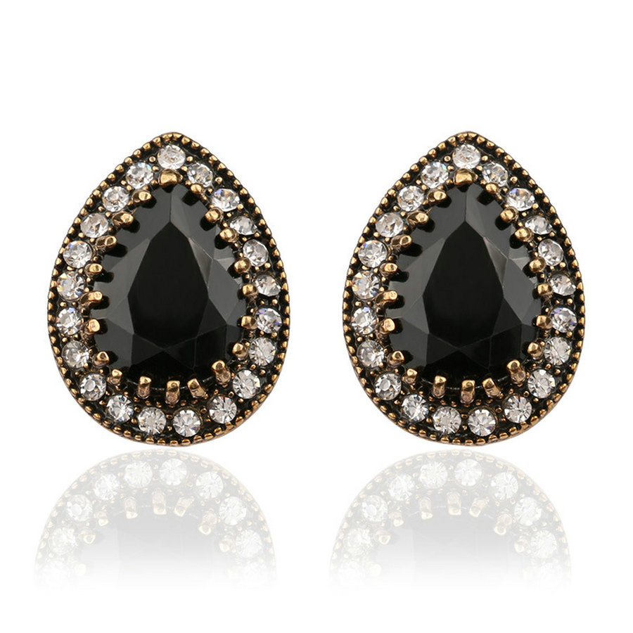 Indian Jewelry 2016 Design Fashion Earrings For Women Water Drop Black  Resin Sale Wholesale Jewellery Mixed
