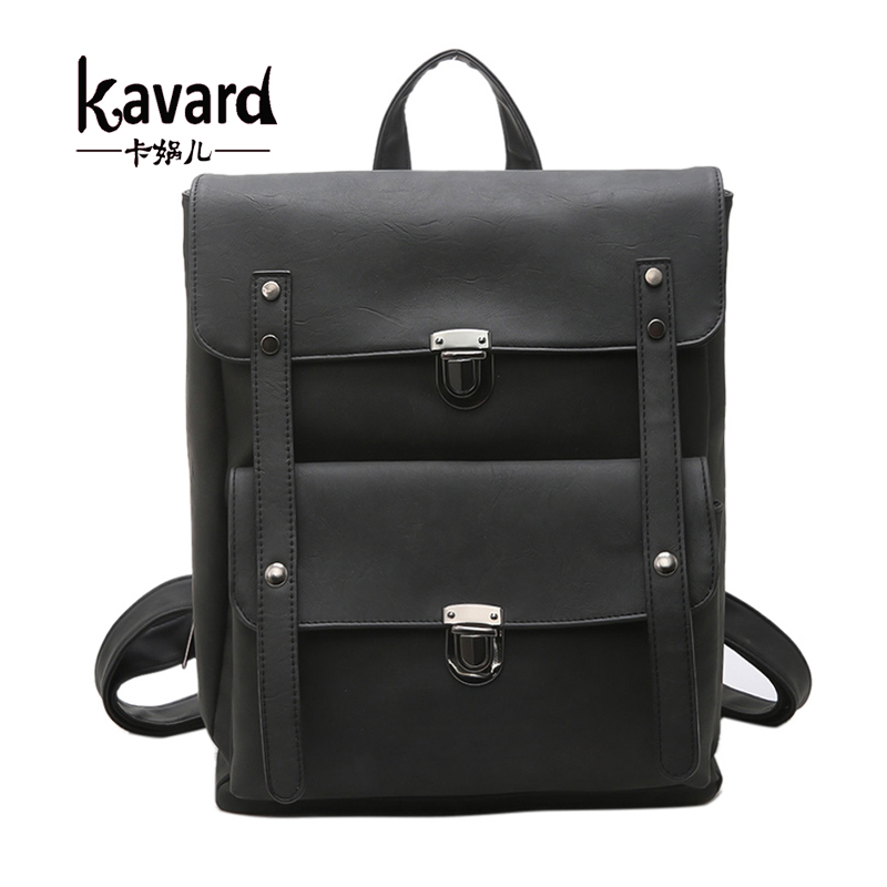 Kavard Vintage Women Backpack Scrub Black Pu Leather Backpack Female Shoulder School Bags Bagpack Girls mochila