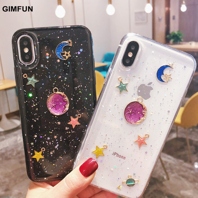 huge selection of 652f1 c09b1 US $2.55 36% OFF|Gimfun Luxury Glitter Stars Case for IPhone 7 6 6s 8 Plus  X Case Girly Soft Silicon TPU Back Cover for IPhone X 10 Fundas Coque-in ...
