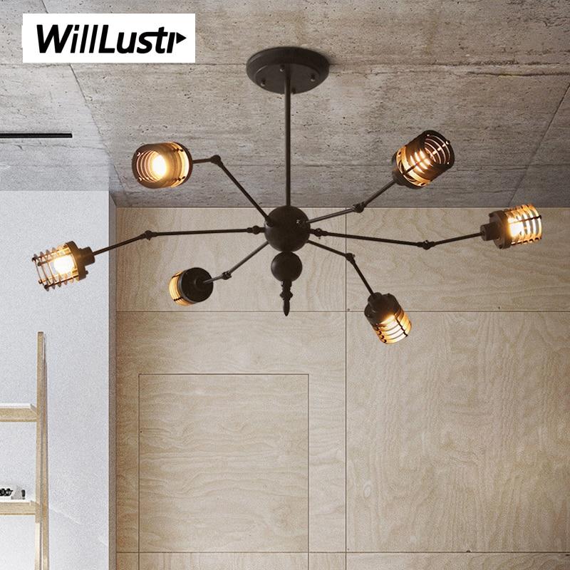 Nordic creative iron cage pendant lamp suspension light design spider lighting hotel restaurant cafe bar rust black white