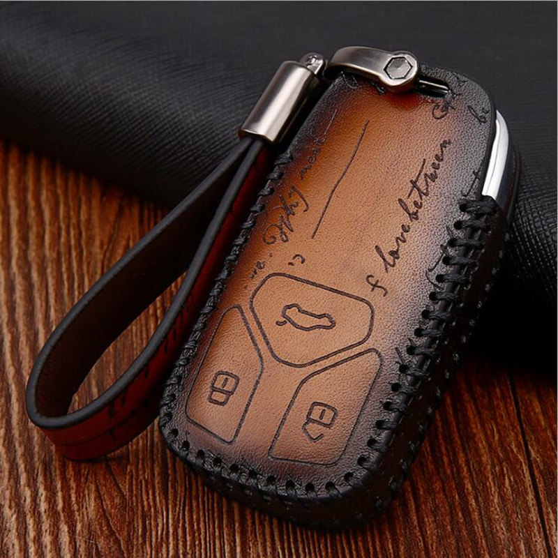 Fashion Devis Leather Car Key Cover Case Key Case For AUDI A4 B9 Q5 Q7 TT TTS 8S 2016 2017 car smart remote Car Styling image