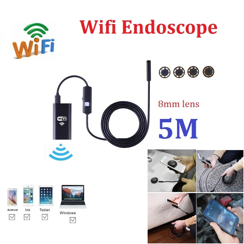 5M Wifi Endoscope Camera iphone Android 720P Borescope Camera 8mm lens mini Endoscope Softwire with 8pcs led 3 5m wifi endoscope new camera 8mm hd lens usb iphone android endoscope tablet wireless endoscope wifi softwire