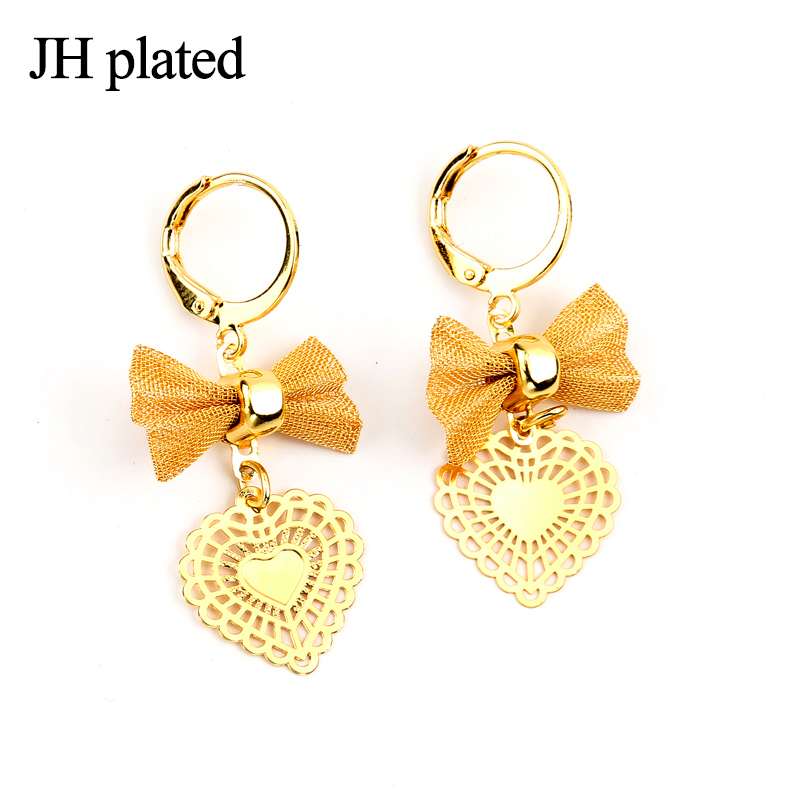 JHplated Ethiopia African jewelery Cute Fashion Lady Gold Color Earrings bowknot love for women and girls the best gift