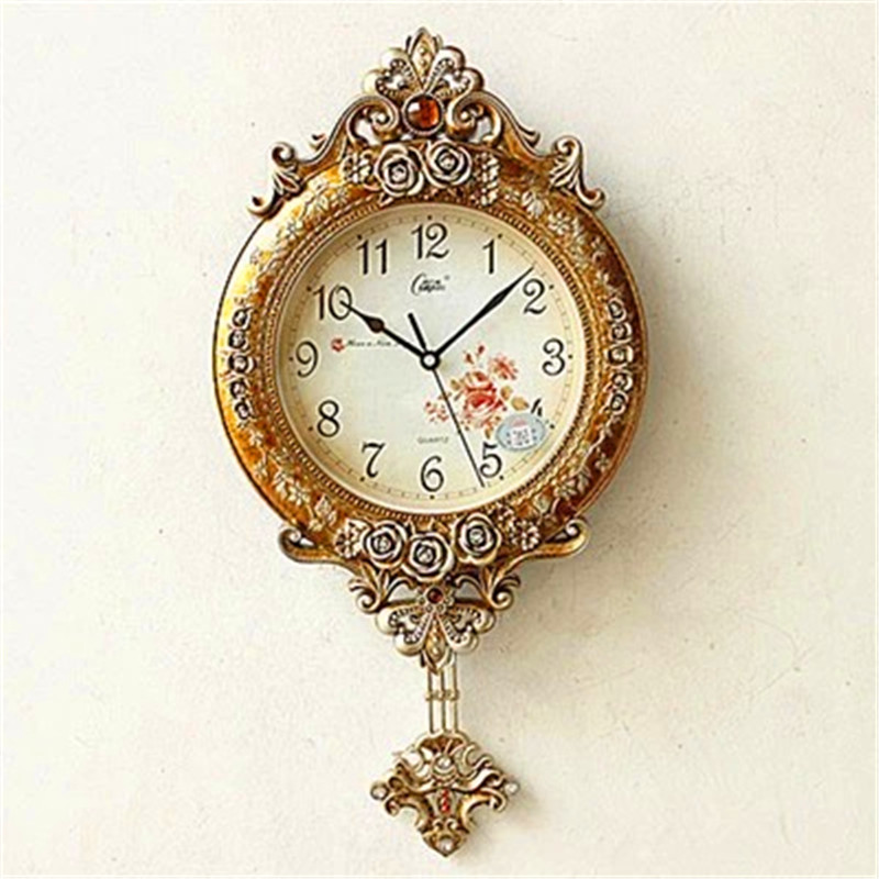 Creative restoring ancient ways Sitting room and bedroom Solid wood wall clock The rudder design decoration Personality clock  gold metal duvar saati