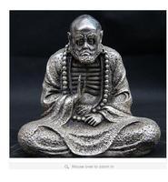 Тибет Буддизм белый Медь серебряная статуя Архат dharma damour Бодхидхарма Будда Тибет серебряные украшения бронза завод