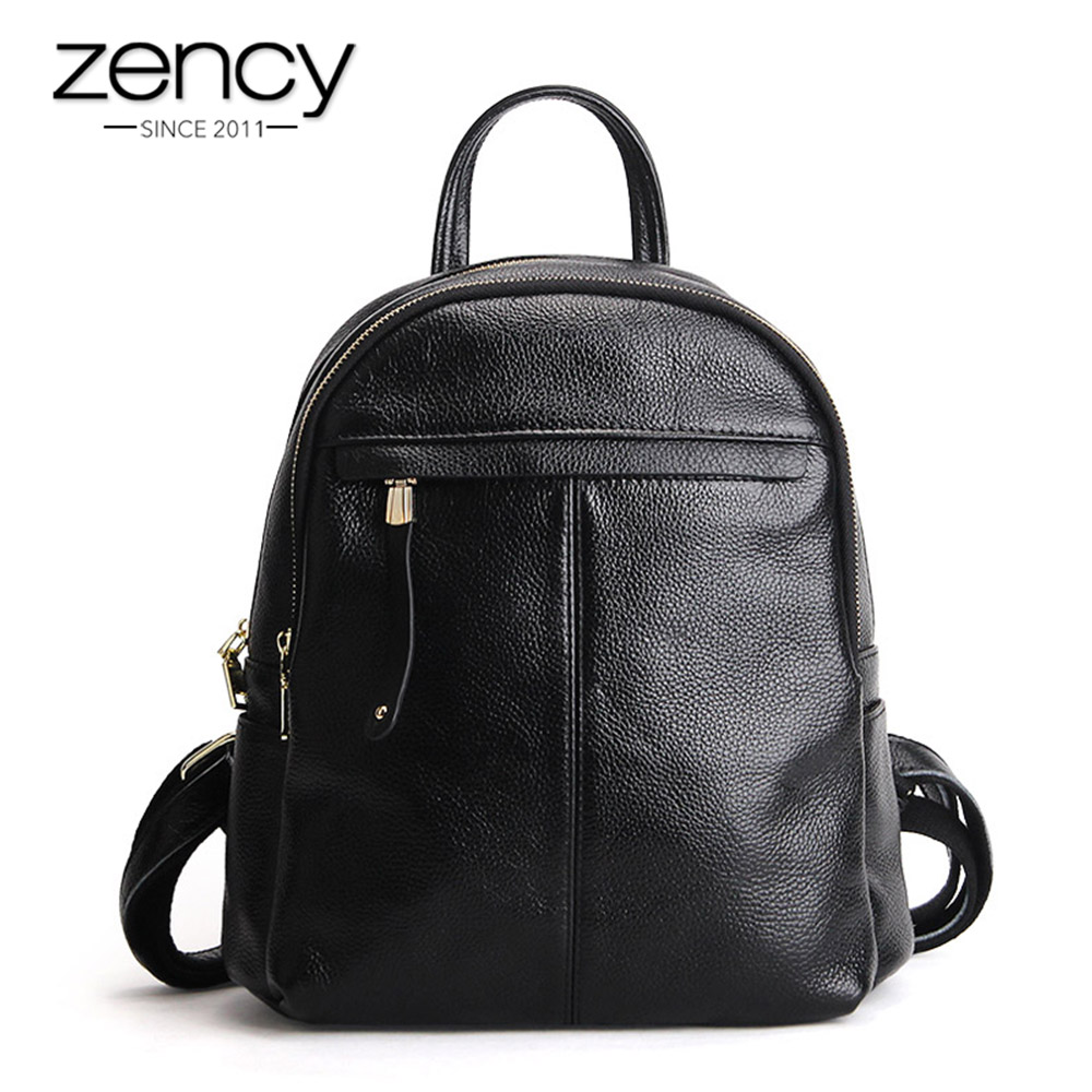 Zency 100% Genuine Leather Women Backpack Notebook Schoolbag For Girls Charm Taro Pink Daily Casual Knapsack Lady Travel Bags vans wm realm backpack pink lady ph