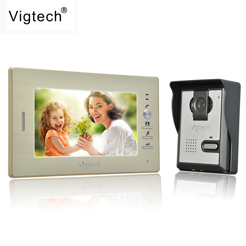 Vigtech Visual Intercom Doorbell 7''TFT LCD Wired Video Door Phone System Indoor Monitor 700TVL Outdoor IR Camera Support Unlock homefong 7 tft lcd hd door bell with camera home security monitor wire video door phone doorbell intercom system 1200 tvl