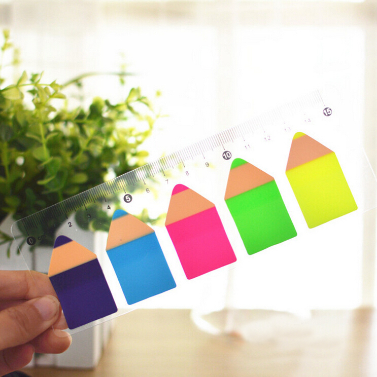 20pcs/lot Ruler Shape Pencil Design Sticky Note Hot Notepad Marker Simple Escolar Stationery Office Material School Supplies