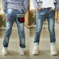 Бесплатная доставка 2016 новых детей джинсы мальчик письмо карман досуг брюки B078