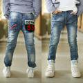 Free shipping 2016  new children jeans boy's letter pocket leisure trousers  B078