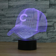 8068 Chicago Cubs béisbol sombrero 3D LED lámpara de atmósfera 7 cambio de  color ilusión visual LED decor lámpara ae6a26d9589