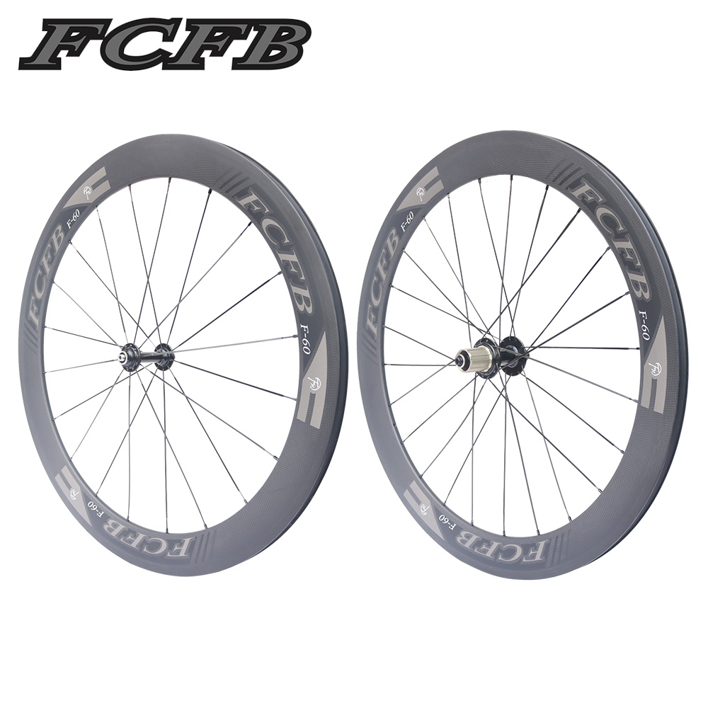 2017 new FCFB Road Bike Carbon Wheels Fastace RA209 Hubs 700C 60mm depth Clincher 3K matt Carbon Bicycle Wheelset