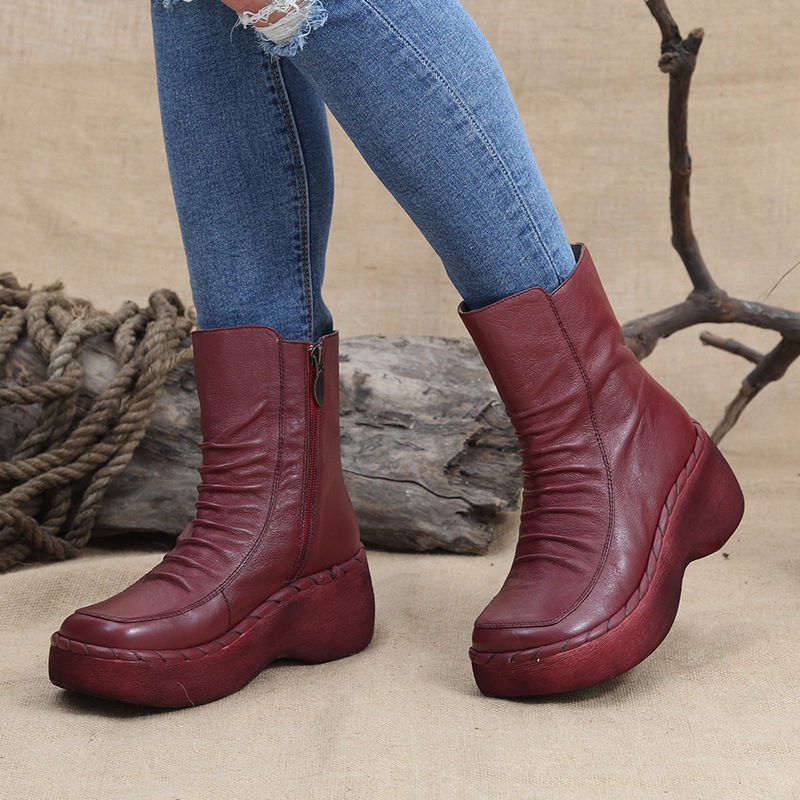 Thick bottom women platform high heels boots genuine leather female shoes wedges round toeThick bottom women platform high heels boots genuine leather female shoes wedges round toe