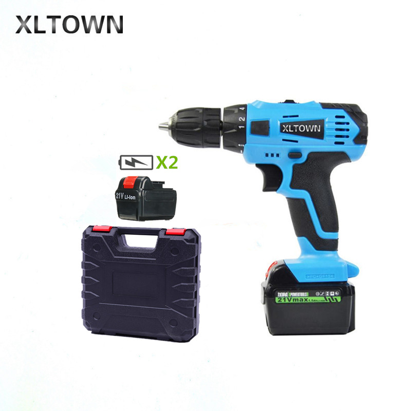 XLTOWN 21v Electric Screwdriver With 2 battery Multifunction Rechargeable Lithium Drill with a Box Cordless Drill Power Tools xltown 12 16 8 21v cordless lithium electric drill with 2 battery multi function rechargeable electric screwdriver power tools