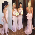 Sexy Long Backless Bridesmaid Dress 2016 Blush Pink Halter Ruffles Mermaid Adult Party Prom Gown robe demoiselle d'honneur