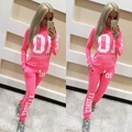New Women women Suit Pullover Letter Pink Print Tracksuit Hoodies Sweatshirt And Pant Set 3 Colors new Sportswear Costume