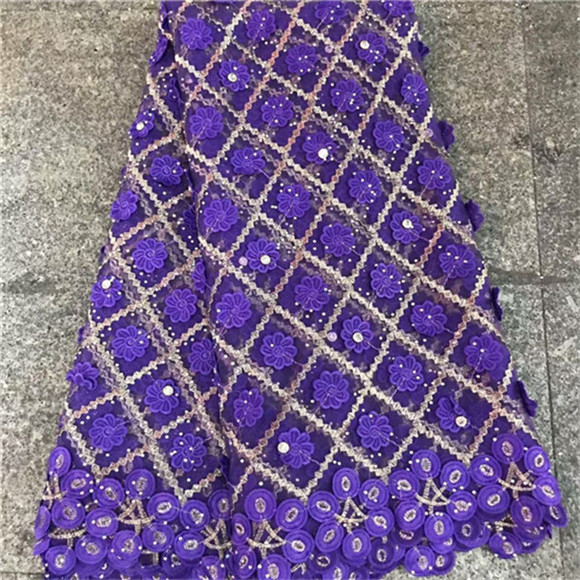 Heavy French Lace 3 D Embroidery purple With stones 5 yard Soft tulle net lace Fabric