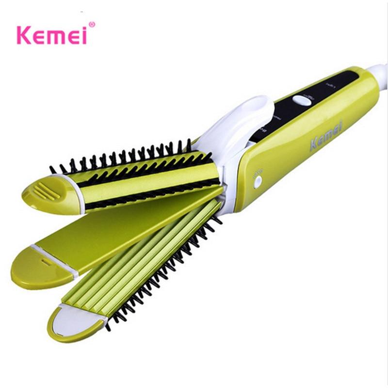 Kemei 3 in 1 Hair Curler Multi-function Corn Curls Hair Straightener Comb Straightening Iron woman Fashion Styling Tools 2 in 1 corn hair straightening