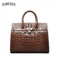 SUWERER 2019 новые женские сумки из натуральной кожи модные роскошные сумки с крокодиловым узором женские сумки дизайнерские модные женские сум