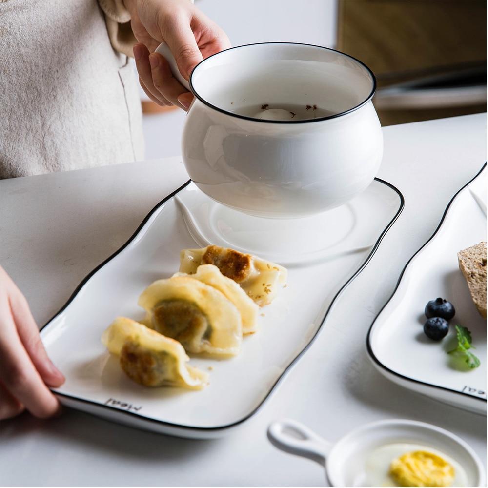 Ménagère moderne lettre ligne noire sous glaçure une personne nourriture céramique vaisselle ensemble maison pain plat petit déjeuner assiette et bol