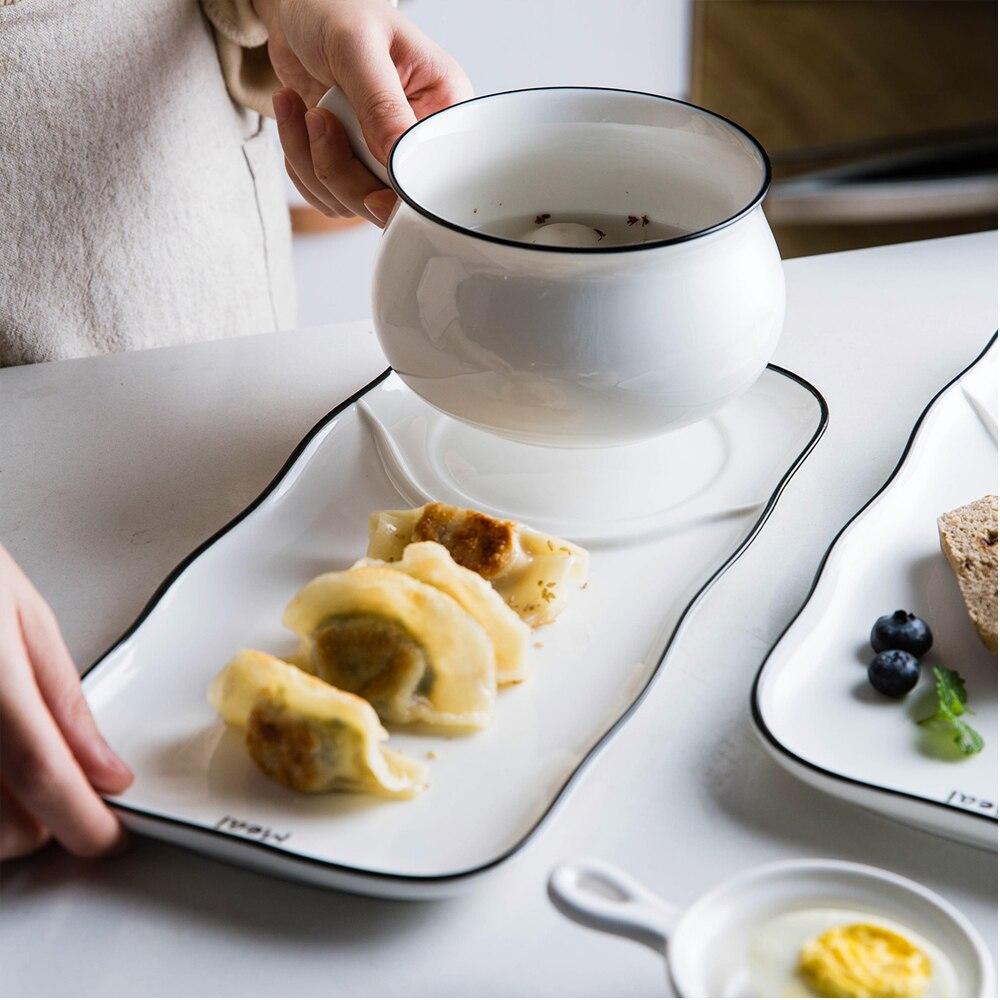 Vaisselle de table en céramique pour une personne | Ménagère moderne lettre noire, ligne noire sous glaçure, vaisselle de pain à la maison, assiette et bol pour le petit déjeuner
