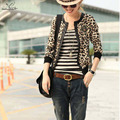 Leopard Print Sexy Lady Jacket 2016 summer spring Women Round Collar Zipper Bomber Jacket girl casual Slim thin suede short Coat