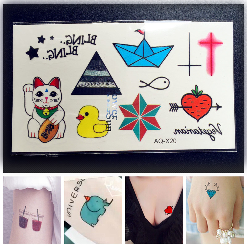 US $0.38 10% OFF|1PC Japanese Fortune Cat Temporary Tattoos For Kids PAQ  X20 Boys Tattoo Flash Removable Cross Heart Fish Boat School Pattern-in ...