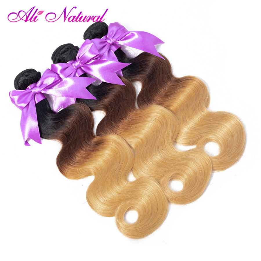 Ali Natural Malaysian Body Wave Human Hair Extensions 3 Bundles Deal 10-26 Inch Non Remy Human Hair Weave Ombre T1B/4/27 Color