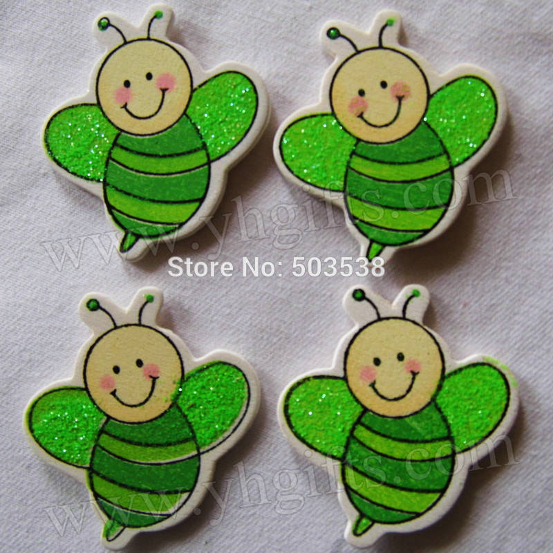 1000PCS/LOT.Wood glitter honeybee stickers,Kids toys,scrapbooking kit,Early educational DIY.Kindergarten crafts.Classic toys