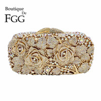 6Colors Bridal Metal Clutch Floral Rose Women Crystal Evening Bags Wedding Party Handbags Purse Lady Diamond