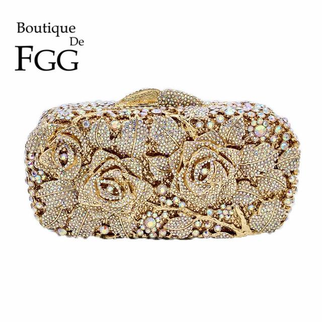 Bridal Metal Clutch Floral Rose Bag Women Crystal Gold Evening Bag Wedding Party Handbags Purse Lady Diamond Rhinestone Clutches