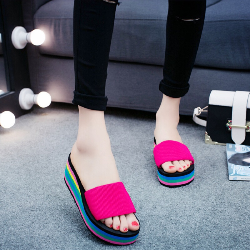 Women Slippers Candy Mixed Colors Beach Platform Shoes Summer Wedges Slippers Female Light Geometric Slipper Casual Shoes ALD929 swonco women s slippers half shoes candy color breathable female slipper 2018 woman slippers summer sandals ladies beach shoes