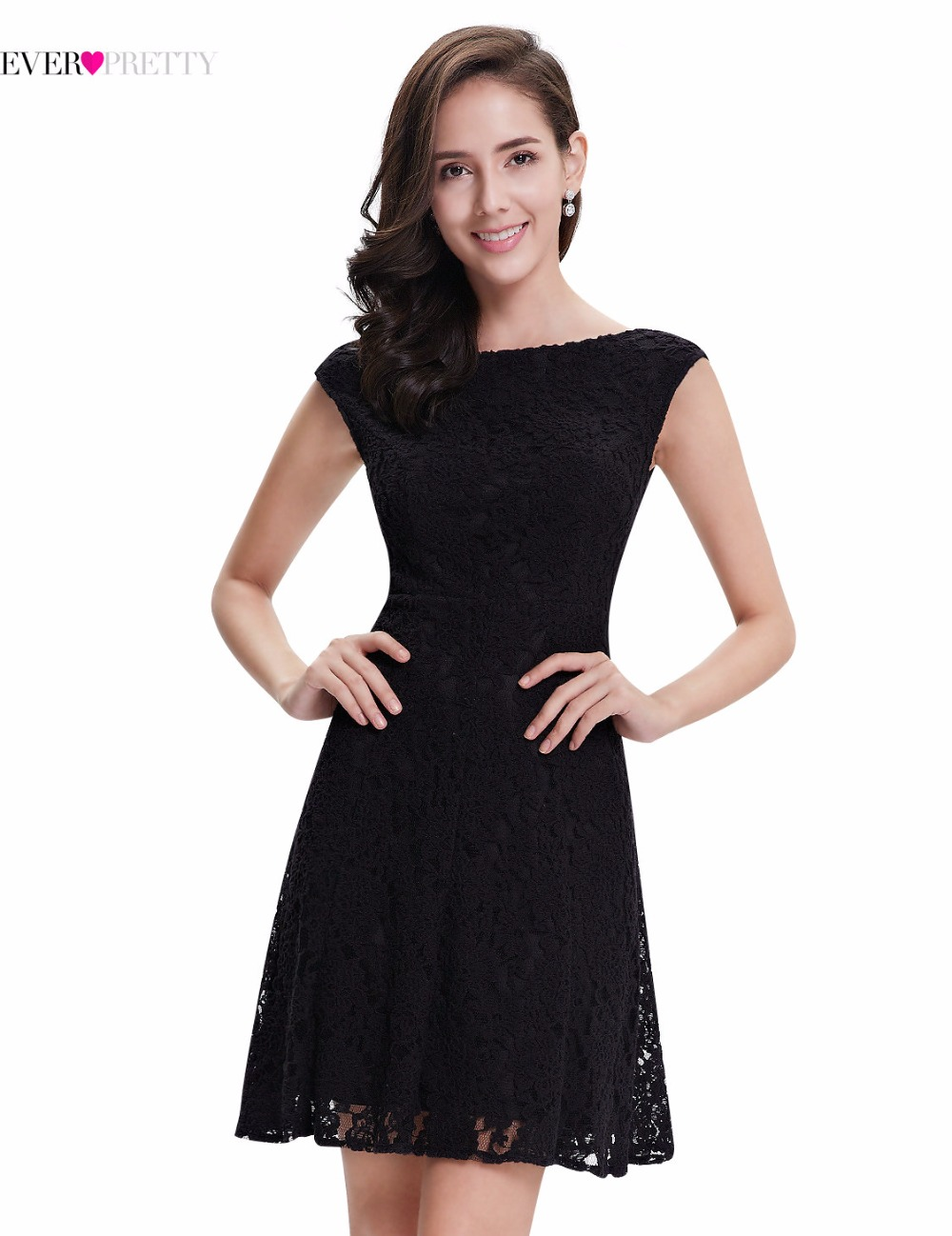 Ever Pretty Cocktail Dresses AP05331BK Women\'s Fashion Lace Round ...