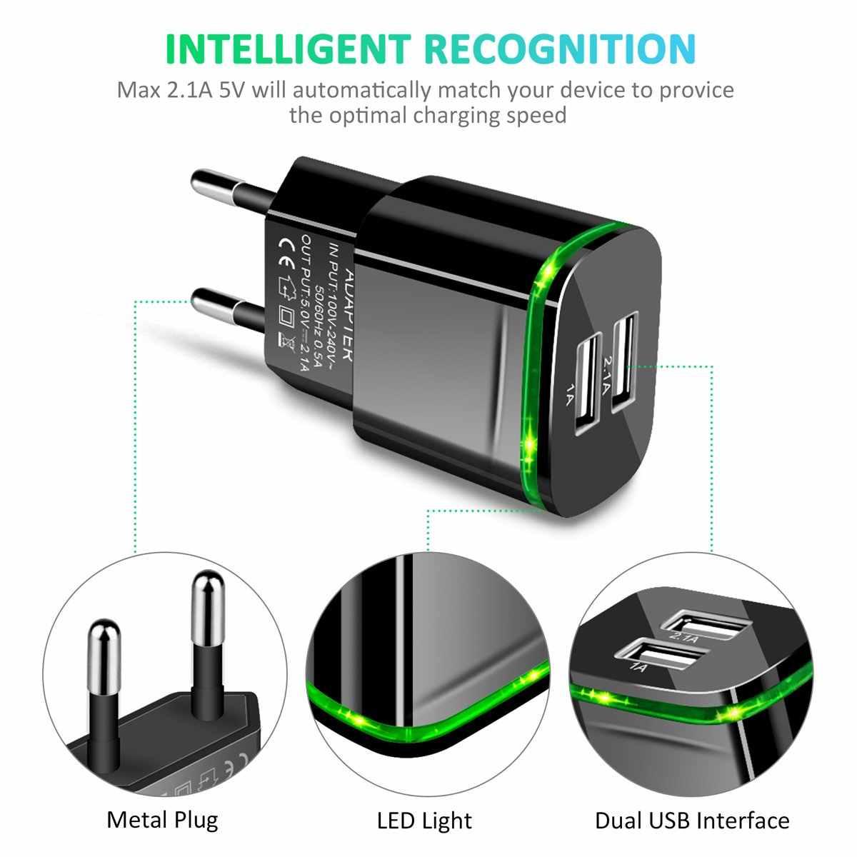 5V 2.1a/1a 2 יציאות USB ירוק LED אור האיחוד האירופי Plug מהיר מטען כבל מתאם עבור LG K10 2017 K4 K5 K7 K8 Q6 X כוח K220DS G4 G5