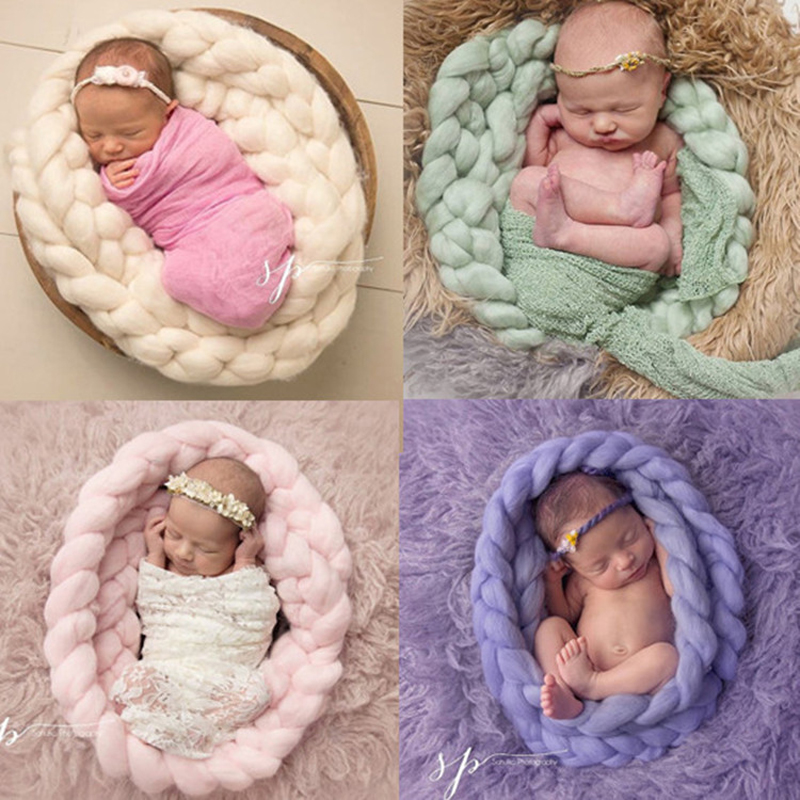 New Fashion Baby Taking Pictures Twist Blanket Newborns Hand-woven Twist Braid Icelandic Hair Baby Photography Props moving pictures