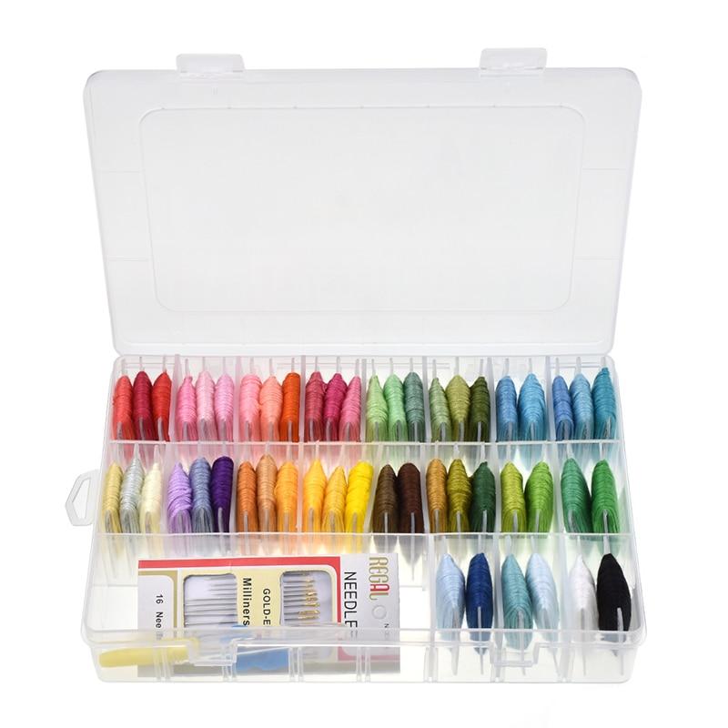 Seda del bordado con caja de almacenamiento 50 colores amistad ...