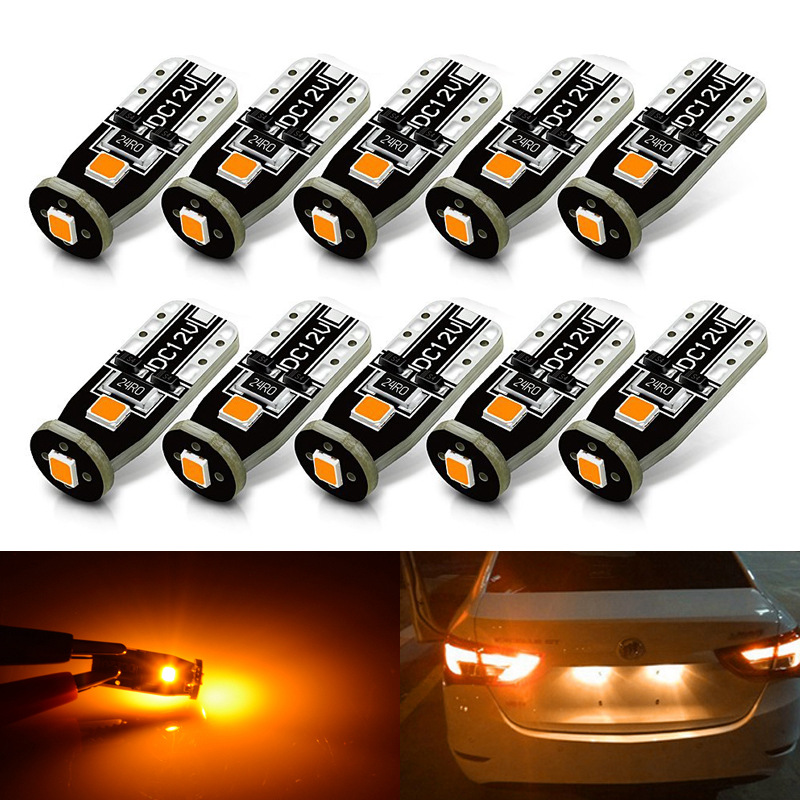 T10 Compact Wedge LED Bulbs for Interior Car Lights License Plate Dome Map Courtesy Side Marker 168 194 2825 W5W Amber Yellow