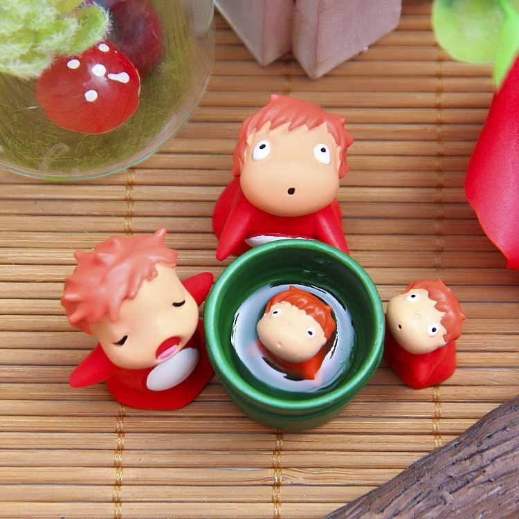 Anime Hayao Miyazaki Ponyo on the Cliff by the Sea Model Doll Ponyo Action Figure Toy Collection Model Toy Garden Ornament Decor image