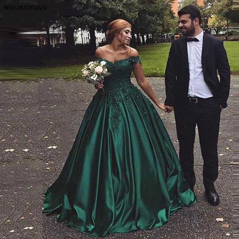 Élégant vert Satin robes De soirée Robe De bal dentelle chérie robes De soirée 2019 longue Robe De soirée longueur De plancher Robe formelle