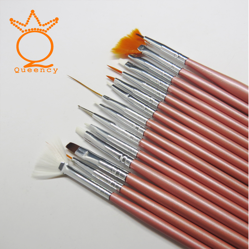Queency Nail Art Brush Pens Nail Brushes UV Gel Nail Polish Painting Drawing Brushes set Manicure Tools Set Kit 12set/pake