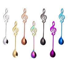 Красочные ложки с ручкой, красочные ложки с музыкальной нотой, ручки, ложки, столовые приборы, инструменты для мороженого, для питья, кухонный гаджет YL5