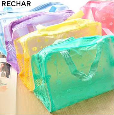 New Fashion Travel Women Cosmetic Bag PVC Floral Transparent Waterproof Portable Makeup Bag Toiletry Wash Pouch Organizer Bag купить