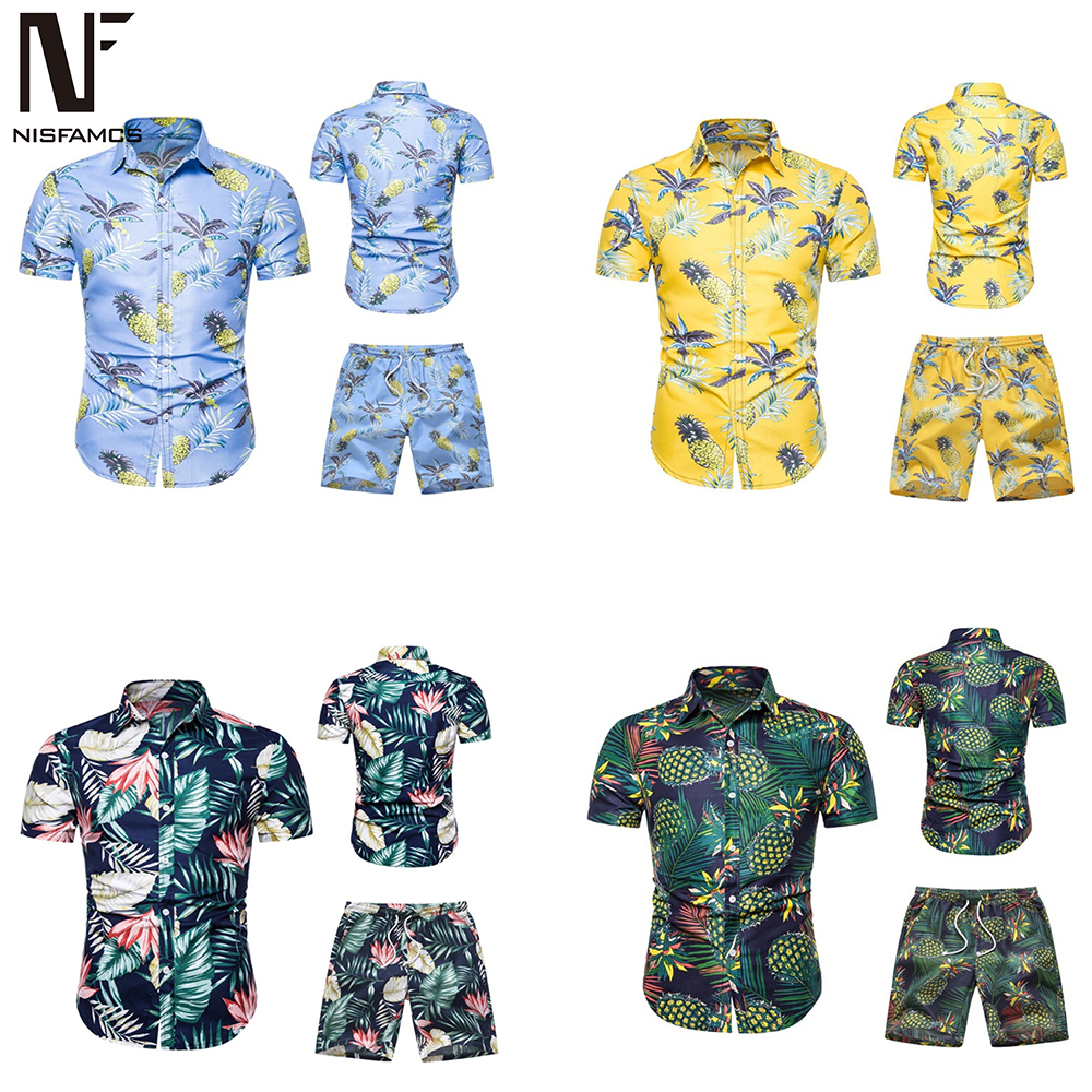 Hawaiian Clothes Men Sets Harajuku Streetwear Tracksuit Suit Beach Sexy Swimwear Flower Boardshorts + Casual Print Shirts 2019
