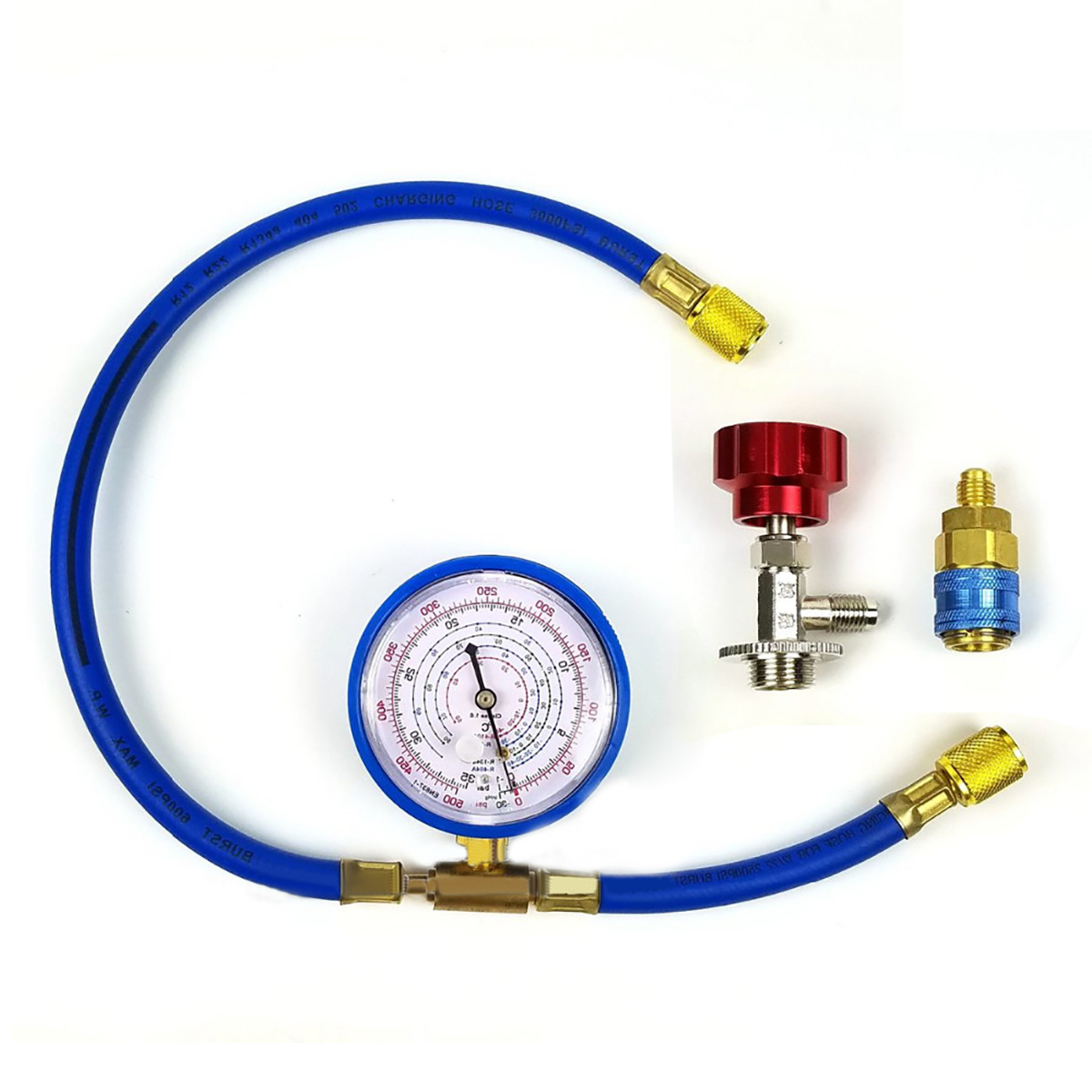 1 Set New M14 R134a Refrigerant Charging Hose With Gauge Recharge Measuring  Tool