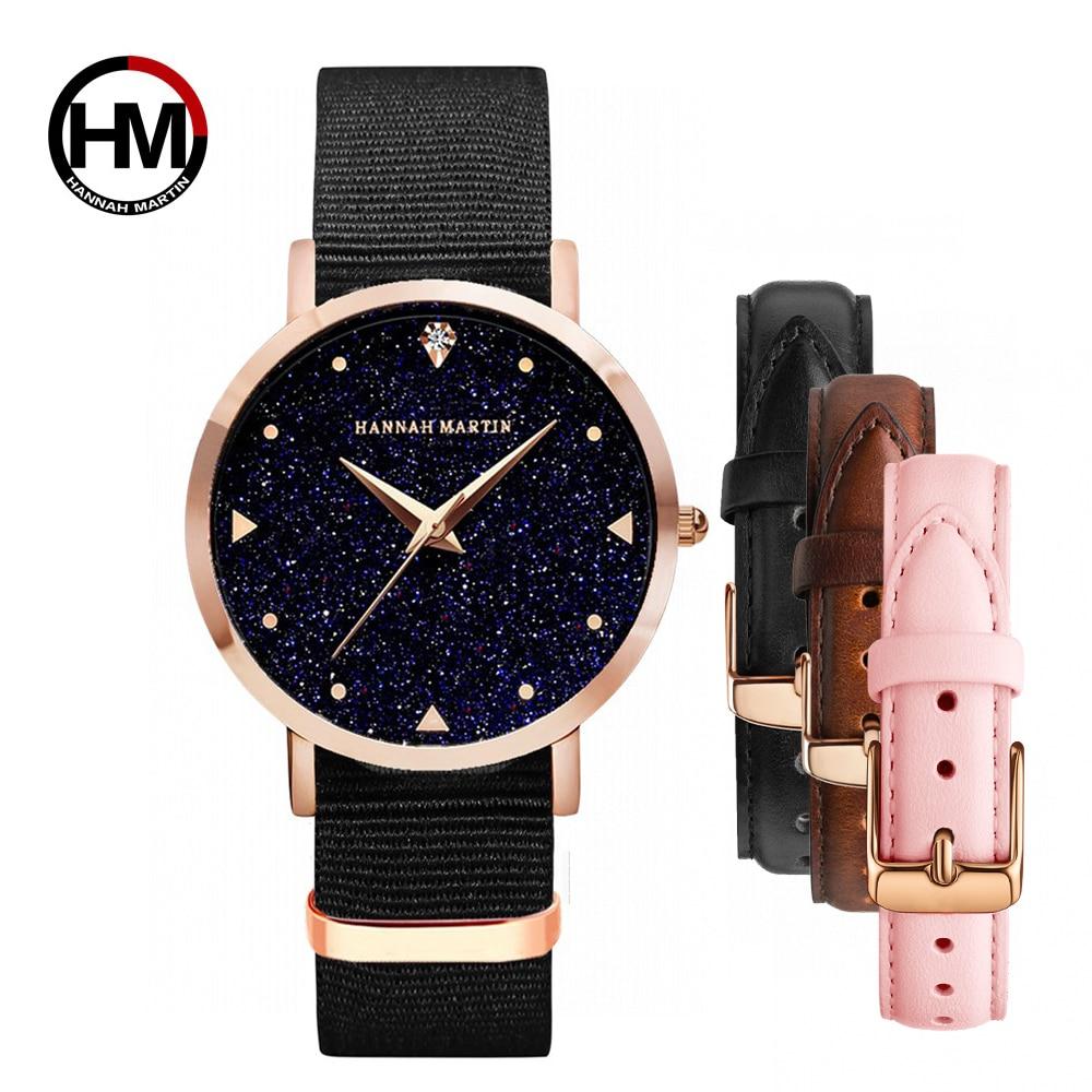Woman Watch Top Luxury Brand 1 Set Japanese Original Movement Quartz Wristwatch Ladies Waterproof Leather Flash Star Dial Clock