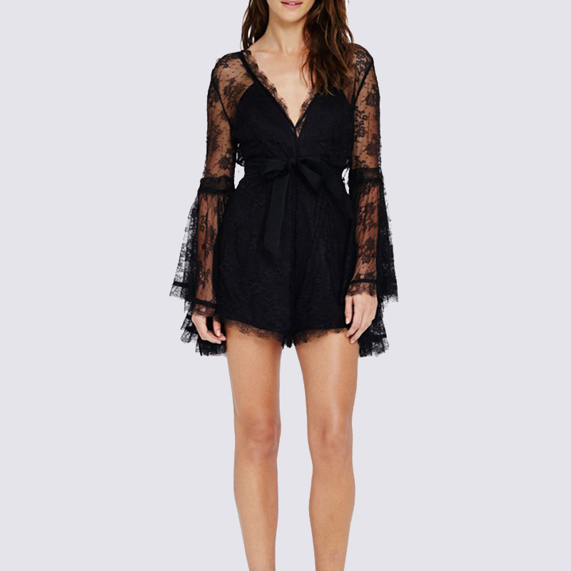 Sexy Black Lace Short Jumpsuit Women Deep V Neck Long Flare Sleeve Lace Embroidery Hollow Out Slim Spring Summer Playsuits